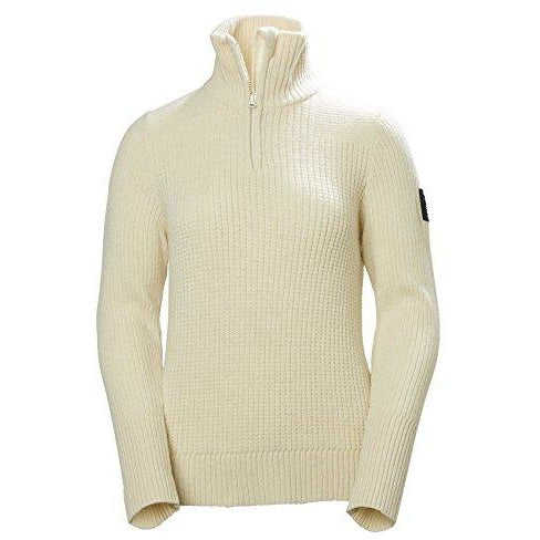 Helly Hansen Women's Marka 1/2 Zip Wool Waffle Knit Sweatshirt, 011 Off White, Medium