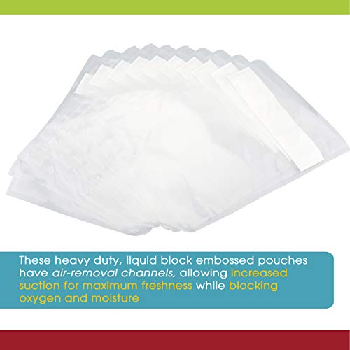 Vacuum Seal Pouches by Vesta Precision | Clear and Embossed Vacuum Sealer Bags | Liquid Block - 8 x 12 inches | 25 Vacuum Bags per Box