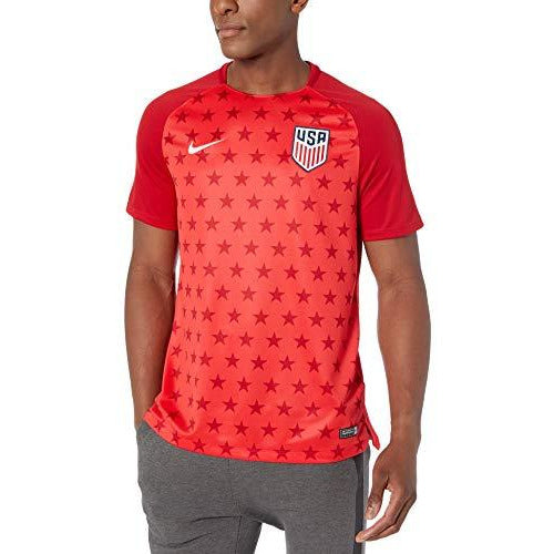 NIKE Mens USA M NK Dry SQD TOP SS GX 2 893367-688_L - Speed RED/Gym RED/White