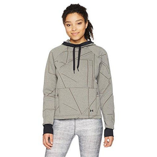 Under Armour Women's Spacer Burnout Hoodie, Charcoal Medium Heat (019)/Tonal, X-Large