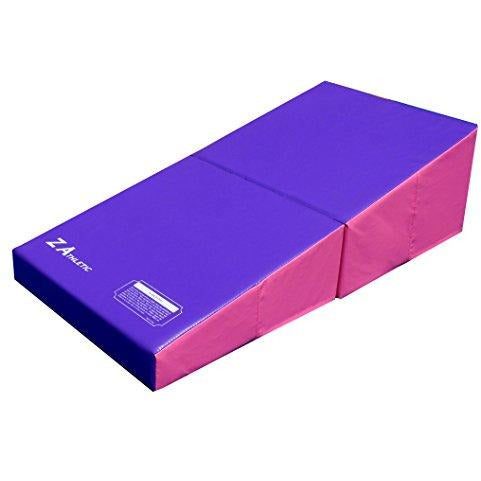 Z-Athletic Junior Incline Cheese Wedge Mat for Gymnastics, Cheerleading Purple/Pink