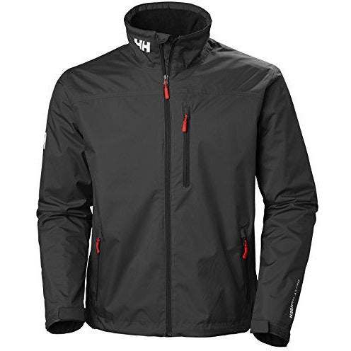 Helly Hansen Men's Crew Midlayer Fleece Lined Waterproof Windproof Breathable Rain Coat Jacket, 990 Black, Large