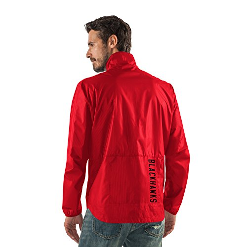 Nhl Chicago Blackhawks Men'S Storm Full Zip Packable Jacket, X-Large, Red