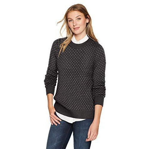 Icebreaker Merino Women's Waypoint Crewe Athletic Sweaters, Small, Char Heather/Steel Heather