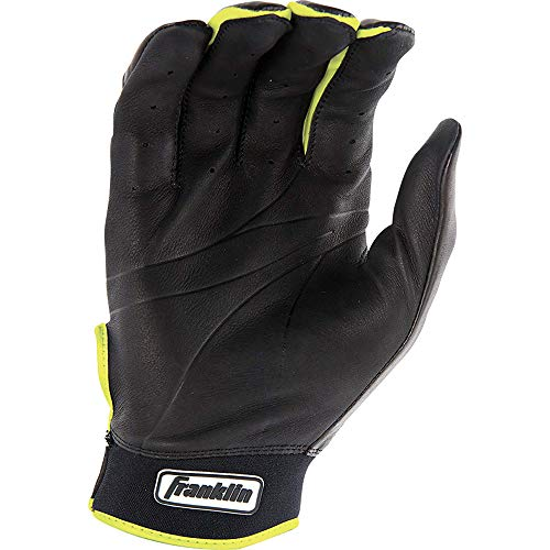 Franklin Sports Mlb Youth Natural Ii Batting Glove, Pair, Large, Black/Grey/Optic Yellow