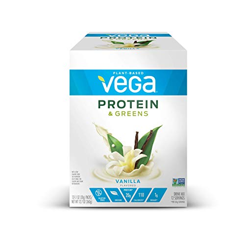 Vega Protein & Greens Vanilla (12 Count, 1 Oz Packets) - Plant Based Protein Powder, Keto-Friendly, Gluten Free, Non Dairy, Vegan,