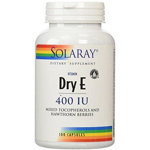 Solaray Dry Vitamin E-400 With Hawthorn Capsules, 100 Count