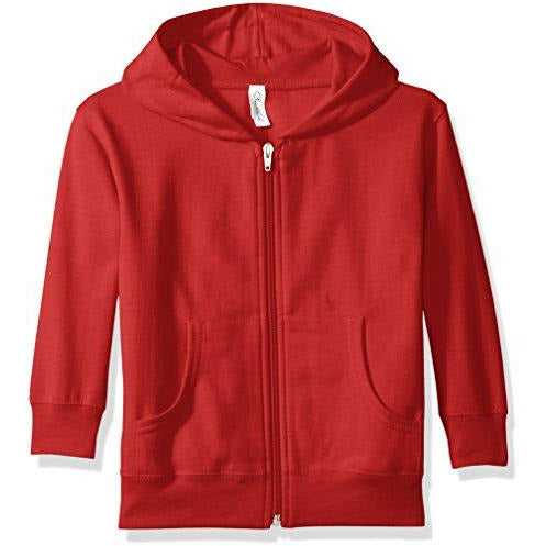 Clementine Little Girls' Toddler Full-Zip Fleece Hooded Sweatshirt, Red, 4T