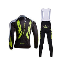 ZEROBIKE Mens Outdoor Breathable Sports Long Sleeve Cycling Jersey and 3D Padded Braces Tights Bib Pants Set E Support