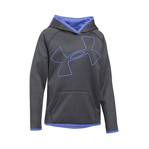 Under Armour Girls' Armour Fleece Jumbo Logo Hoodie, Carbon Heather (090)/Violet Storm, Youth X-Small