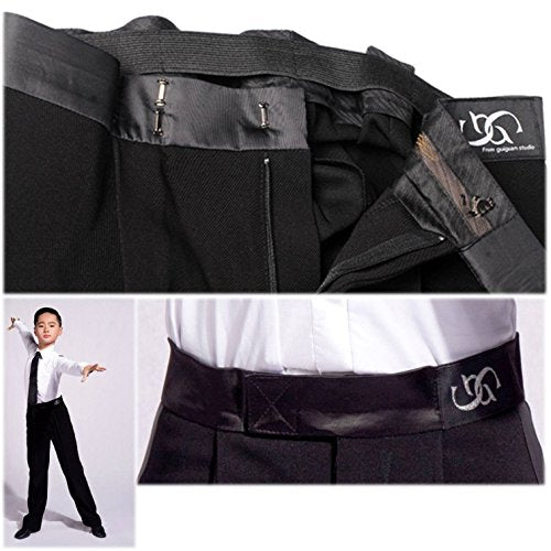 GD5101 Kid Latin Modern Ballroom Ball Party Dance Professional Performance Shirt/Pants for boy ((FBA) Pants(Black), 160)