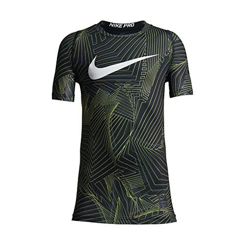 NIKE Boy's Pro Cool Pro Cool HBR Short Sleeve Fitted Training Top (Large, Black(892434-010)/Gold)