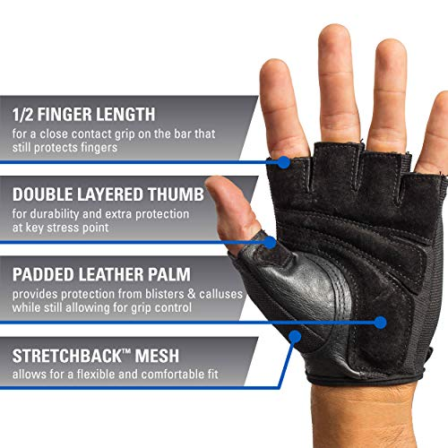Harbinger Power Non-Wristwrap Weightlifting Gloves With Stretchback Mesh And Leather Palm (Pair), Black, Medium (Fits 7.5 - 8 Inch