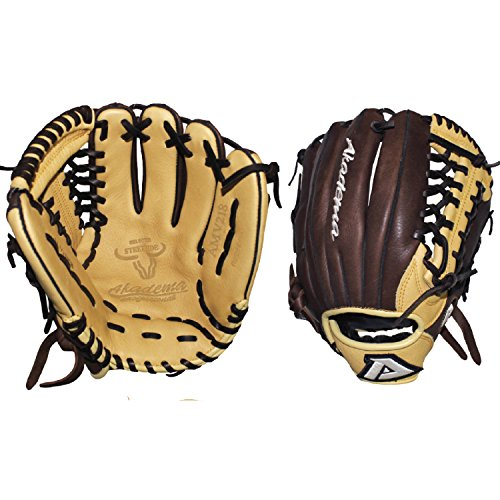 "Akadema Pattern Modified-Trap Web Gloves with Open Back and Medium-Deep Pocket, 11.5"", Worn on Left Hand"