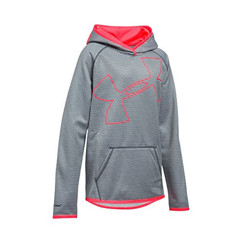 Under Armour Girls' Armour Fleece Novelty Jumbo Logo Hoodie, Stealth Gray (011)/Pink Chroma, Youth X-Large