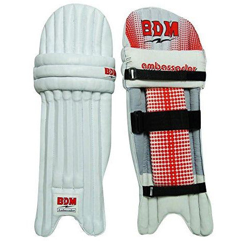 Ambassador BDM Cricket Leg Guard Right Handed PU Leather White Mens Batting Pads