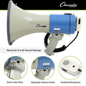 Champion Sports Megaphone With Siren, Handheld Microphone, 1000 Yard Range - Powerful Bullhorn Loudspeaker With Adjustable Volume