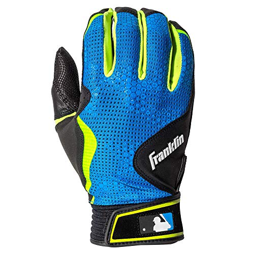 Franklin Sports MLB Freeflex Series Batting Gloves, Black/Electric Blue Adult Large