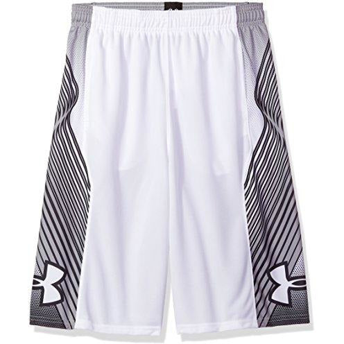 Under Armour Boys Space The Floor Shorts, White (100)/Black, Youth Small