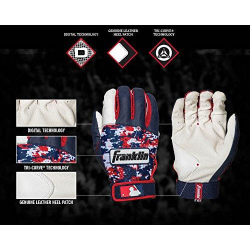 Franklin Sports MLB Digitek Baseball Batting Gloves - White/Navy/Red Digi - Youth Large
