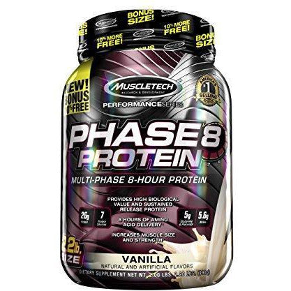 Muscletech Phase8 Protein Powder, Sustained Release 8-Hour Protein Shake, Vanilla, 2.20 Pounds (998G)
