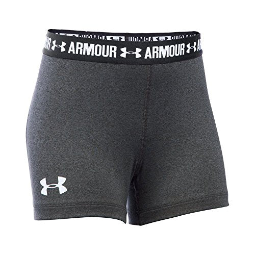 "Under Armour Girls' HeatGear Armour 3"" Shorty, Carbon Heather /White, Youth X-Large"