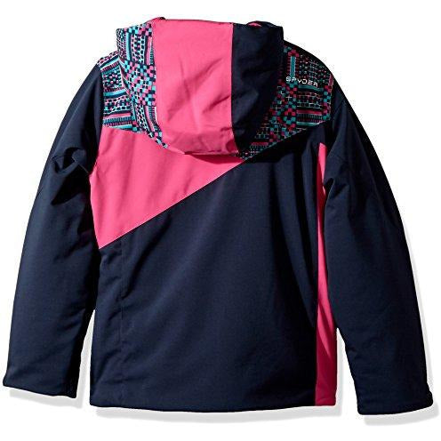 Spyder Girl's Project Ski Jacket, Frontier/Baltic GEO Print/Raspberry, Size 12