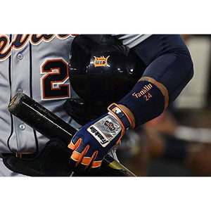 Franklin Sports MLB Adult Miguel Cabrera CFX Pro Signature Series Batting Glove, Pair, XX-Large, Navy/Orange