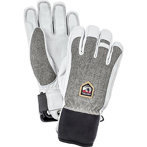 Hestra Ski Gloves: Army Leather Patrol Winter Cold Weather Gloves, Light Grey, 10