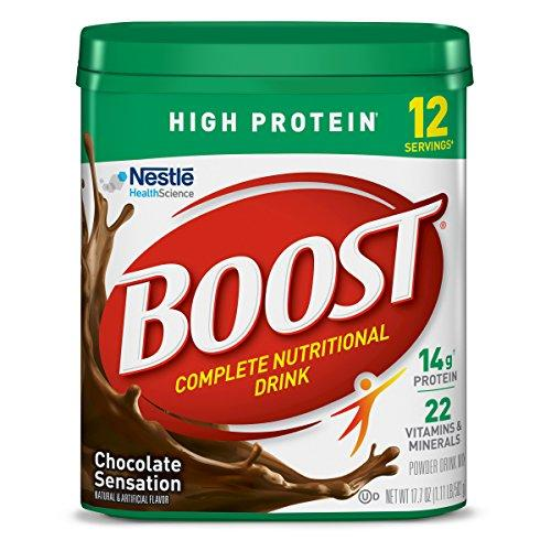 Nestle Boost High Protein Powder Drink Mix, Chocolate Sensation 17.7 Oz Canister (Pack of 4)
