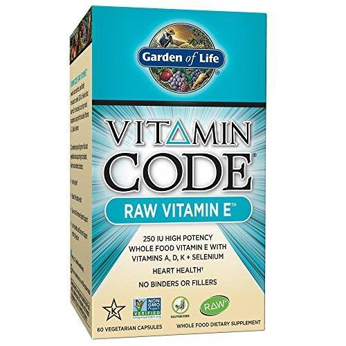 Garden Of Life Vitamin E Raw E Vitamin 250 Iu Whole Food Supplement Vegetarian 60 Capsules
