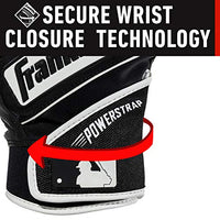 Franklin Sports Mlb Powerstrap Batting Gloves, Black/Black - Adult Large