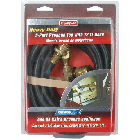 Camco 59103 Propane Brass Tee With 3 Port And 12' Hose