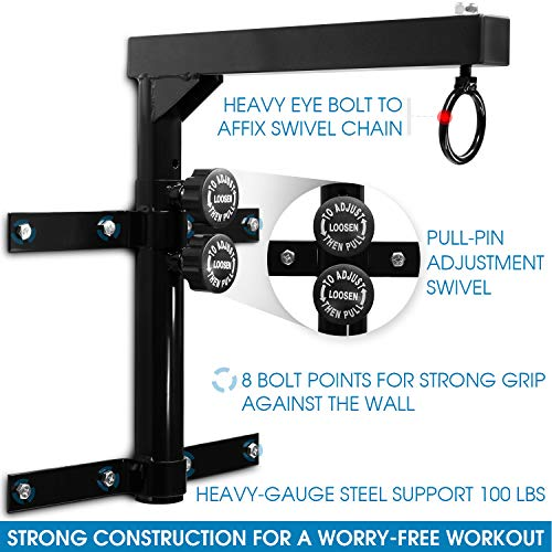 Yes4All Wall Mount Heavy Bag Hanger with Heavy Bag Chain - ²SROGZ