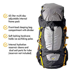 High Sierra Sentinel 65L Internal Frame Backpack, Mercury/Ash/Yell-O