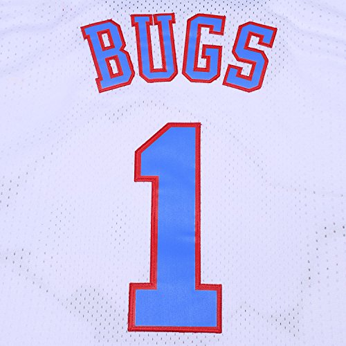 TUEIKGU Youth #1 Bugs Space Moive Jersey Kids Basketball Jersey for Boys S-XL (White,Youth X-Large)