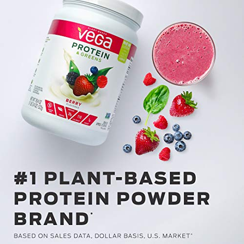Vega Protein & Greens Berry (18 Servings, 18.4 Ounce) - Plant Based Protein Powder, Keto-Friendly, Gluten Free, Non Dairy, Vegan,