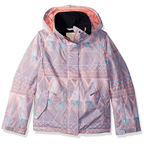 Roxy Little Jetty Girl Snow Jacket, Minimal Grey_Mosaic, 16/XXL