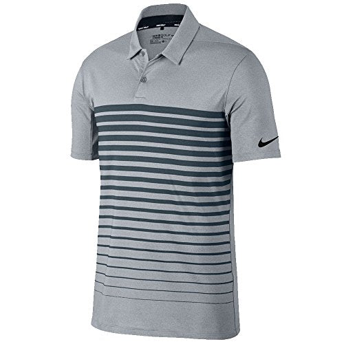 Nike Dry Fit Heather Stripe OLC Golf Polo 2017 Wolf Gray/Armory Navy/Black Small