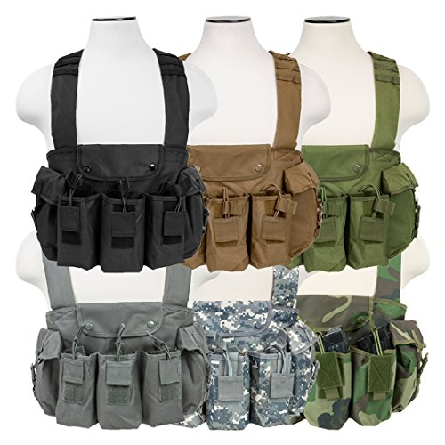 ATG Tactical AK Chest Rig Magazine Pouches Vest Utility Pouches Adjustable MOLLE (Black)