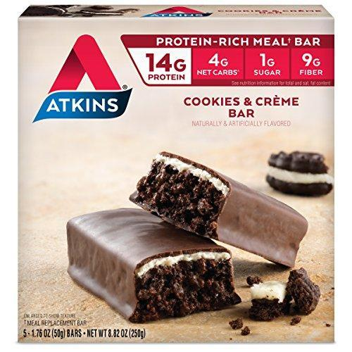 Atkins Protein-Rich Meal Bar, Cookies N' Creme, 5 Count