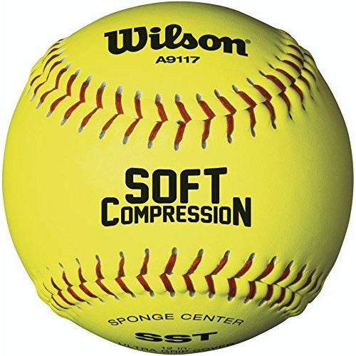 Wilson A9117 Soft Compression Softball (12-Pack), Optic Yellow, 12-Inch