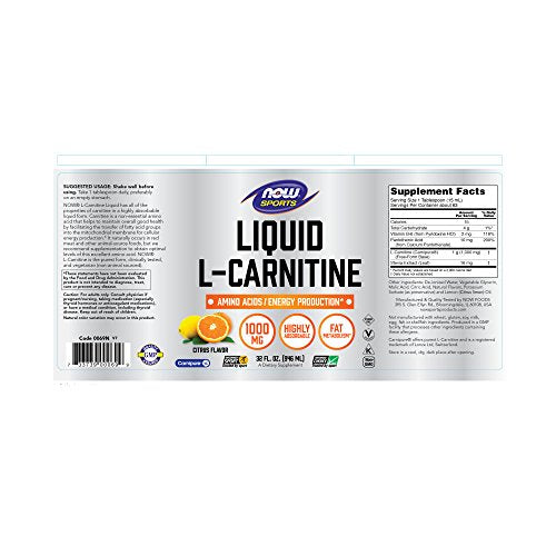 Now Sports Nutrition, L-Carnitine Liquid 1000 Mg, Citrus, 32-Ounce