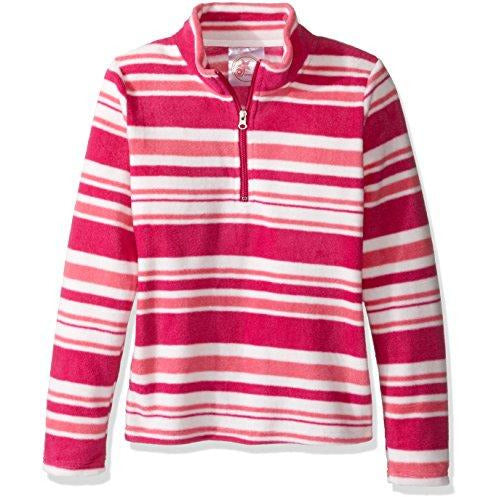 Dream Star Girls' Little Stand Collar Zip Neck Stripe Micro Fleece Pullover, Pink Pattern, S/4