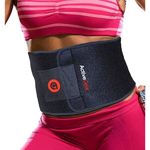 "ActiveGear Waist Trimmer Belt for Stomach and Back Lumbar Support, Medium: 8"" x 42"" - Red"