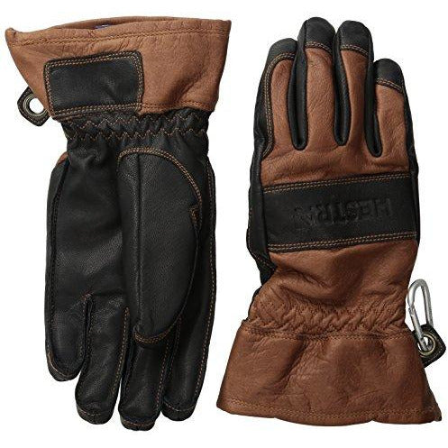 Hestra Mens and Womens Ski Gloves: Guide Leather Winter Gloves with Wool Lining, Brown/Black, 9
