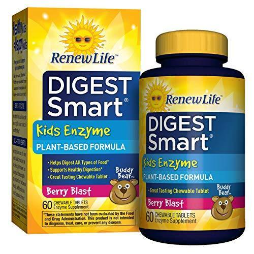 Renew Life Digest Smart Kids Plant-Based Enzyme - 60 Chewable Berry Flavor Tablets