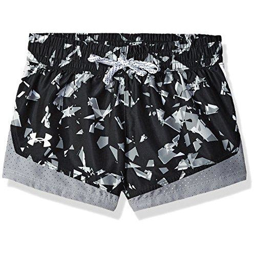 Under Armour Girls' Sprint Novelty Short, Black (001)/White, Youth Small