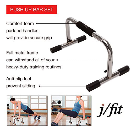 j/fit Pro Push Up Bar Stand Durable Metal Fitness Equipment and Padded Handles for Secure Grip
