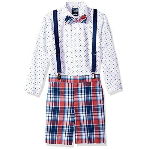 Izod Boys 4-Piece Suspender Set With Dress Shirt, Bow Tie, Shorts, And Suspenders, Bubble Gum Dot, 3T